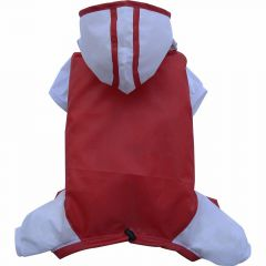 pug raincoat with 4 legs red grey - DoggyDolly FP-DR039