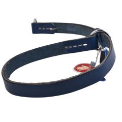 Real leather pull collar in blue from GogiPet