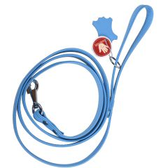 Handmade, light blue floater leather dog leash with metal ring for the poop bag dispenser