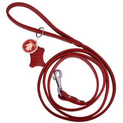 Handmade, red floater leather dog leash with metal ring for the poop bag dispenser