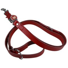 Handmade leather dog leash, red and length adjustable by GogiPet