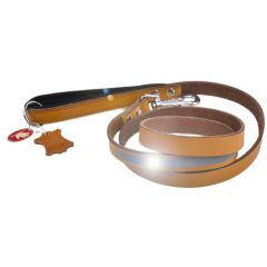 GogiPet® reflector leather dog leash camel
