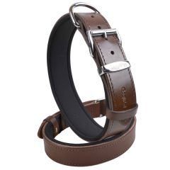 Comfort leather dog collar brown with soft padding