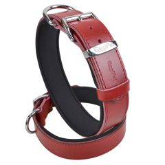 Red comfort leather dog collar with soft padding