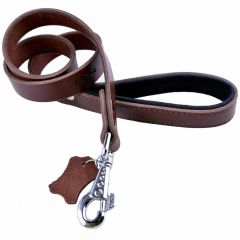 GogiPet ® Comfort leather dog collar brown 2.5 cm wide