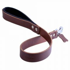 GogiPet ® Comfort leather dog leash brown 3 cm wide