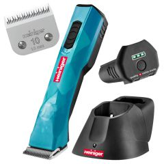 Heiniger Opal dog clipper with a high capacity battery, blade size 10 and charging station.