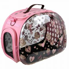 Pink dog carrier with 360 degree panoramic view