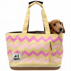 Very light dog transport bag yellow with fashionable motifs