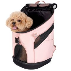 Spacious Coral Pink Dog Backpack Recommended by GogiPet