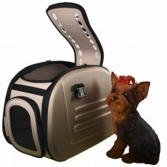 beige dog carrier in caramel look