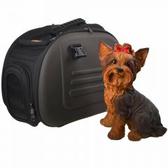 brown dog carrier in chocolate look