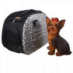 Safari dog carrier with leopard skin look