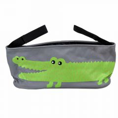Dog accessory bag grey with crocodile