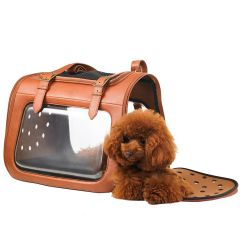 Luxury dog carrier in brown leather