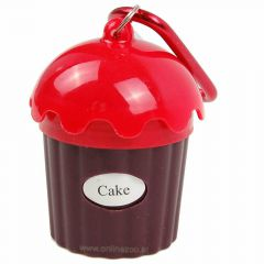 Red dog waste bag dispenser in Cup Cake Design
