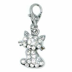 Cat rhinestone pendant with carabiner