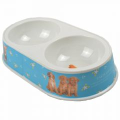 Blue double bowl made of melamine by GogiPet