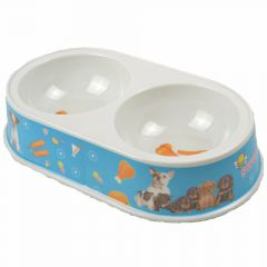 Double pet bowl 2 x 200 ml blue Hotdog