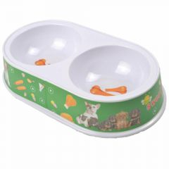 Double pet bowl 2 x 200 ml green Hotdog