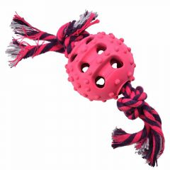 GogiPet dog toy - pink rubber ball with dental rope