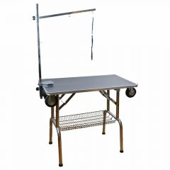 Mobile grooming table with wheels, control post, grooming noose and basket