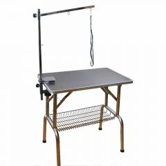 Mobile grooming table with gallows, grooming arm and accessory basket
