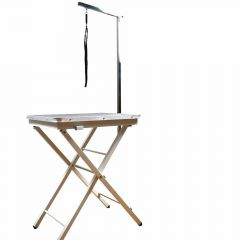 Mobile, height-adjustable grooming table