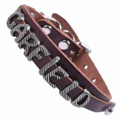 GogiPet ® Personalized name collar made of genuine leather brown with 26 cm