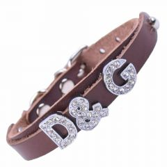 GogiPet ® Personalized name collar made of genuine leather brown with 23 cm