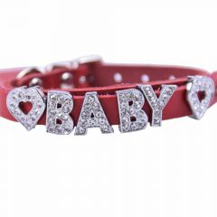 GogiPet ® Personalized name collar made of genuine leather red with 26 cm