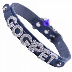GogiPet ® Personalized name collar made of genuine leather blue with 35 cm