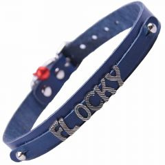 GogiPet ® Personalized name collar made of real leather blue with 38 cm