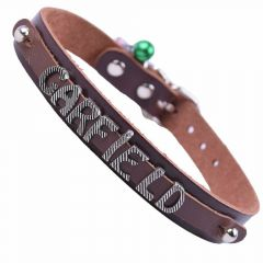 GogiPet® Personalized name collar made of real leather brown with 38 cm