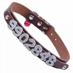 GogiPet ® name collar made of genuine leather brown with 35 cm of GogiPet ®