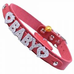 GogiPet ® Personalized name collar made of genuine leather red with 35 cm