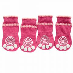 GogiPet dog socks pink with anti-slip coating