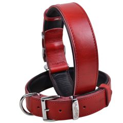 Handmade GogiPet® First Class leather dog collar red