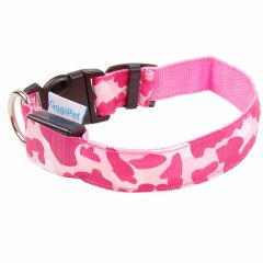 GogiPet ® Camouflage Pink lighting or flashing collar XL