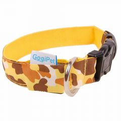 GogiPet ® Camouflage Yellow lighting or flashing collar XL