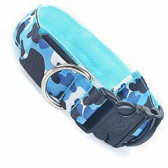 GogiPet ® Camouflage Blue lighting or flashing collar XL