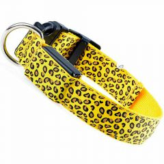 Yellow Leopard dog collar with LED light by GogiPet ® L