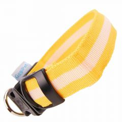 Size adjustable GogiPet ® LED collar yellow S