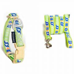 Green Dog collar and leash green fabric in premium quality