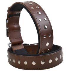 Brown handmade GogiPet rivet dog collar in leather