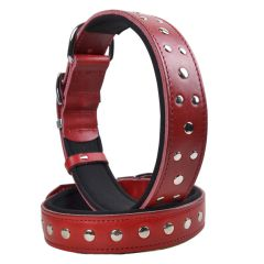 Red, handmade GogiPet studded leather dog collar