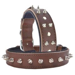 GogiPet® genuine leather spike dog collar brown
