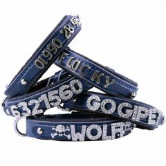 GogiPet ® Individual name dog collar made of real leather blue with 35 cm