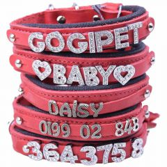 GogiPet ® Individual name dog collar made of real leather red with 35 cm