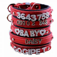 GogiPet ® Individual name dog collar made of real leather red with 30 cm